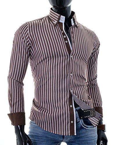 Herren Elegantes Hemd Streifen Muster Slim Fit Casual Formal Partei Baumwolle Braun Rot Braun