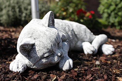 Gartenfigur Steinfigur Grosse Katze schlafend, frostfest bis -30°C, massiver Steinguss -