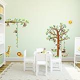 DECOWALL Decowall DM-1401P1402 8 Little Monkeys Baum und Höhe Tabelle Kinder Wandaufkleber Wandaufkleber Peel and Stick entfernbare Wand-Aufkleber für Kinder Kinderzimmer Schlafzimmer Wohnzimmer