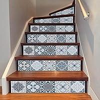 IGEMY DIY Steps Sticker Removable Stair Sticker Home Decor Ceramic Tiles Patterns (F)