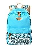 Outdoor Freizeit für Universität Mädchen Schulrucksack Damen Canvas Rucksack Teenager Schultasche Daypacks Himmelblau