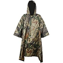 Lluvia Poncho Impermeable Regenmantel, Rip-Stop, PVC, 3en 1multifuncional de ropa de lluvia unisex Lluvia Chaquetas Chubasquero para senderismo, camuflaje