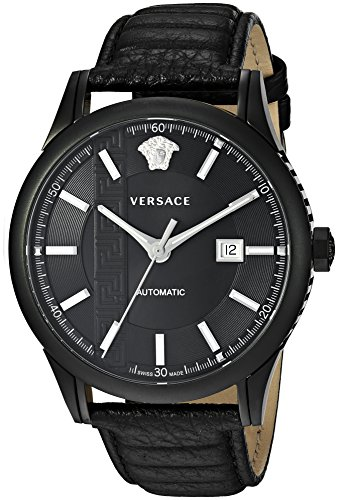 Versace Men's 'AIAKOS' Swiss Automatic Stainless Steel and Leather Casual Watch, Color Black (Model: V18030017)