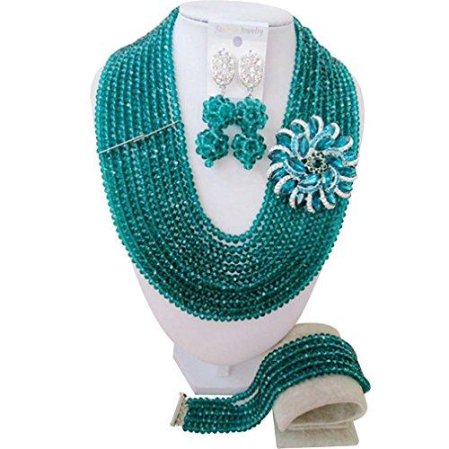 laanc-womens-10-rows-dark-green-crystal-nigerian-wedding-african-beads-jewellery-set