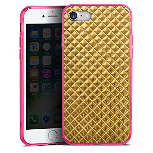 Apple iPhone 7 Silikon Hülle Case Schutzhülle Nieten Gold Muster Silikon Colour Case pink