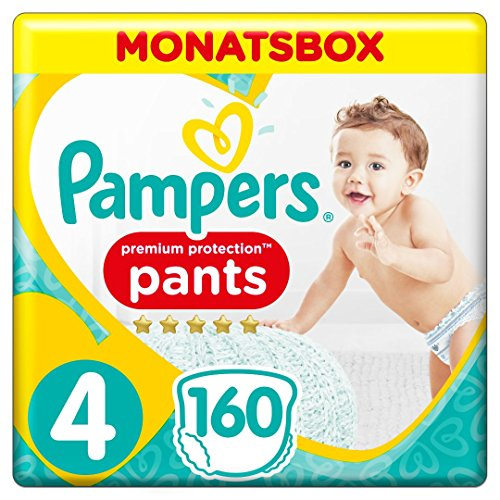 Pampers Premium Protection Pants, Gr.4 Maxi, 9-15kg, Monatsbox, 1er Pack (1 x 160 Stück)
