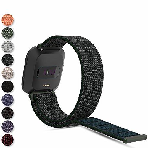 ersa Smartwatch Schlaufenband, Gewebte Nylonband Klettverschluss Handgelenkschlaufe Ersatzarmband Schlaufe Sportarmband für Fitbit Versa Armbanduhr ()