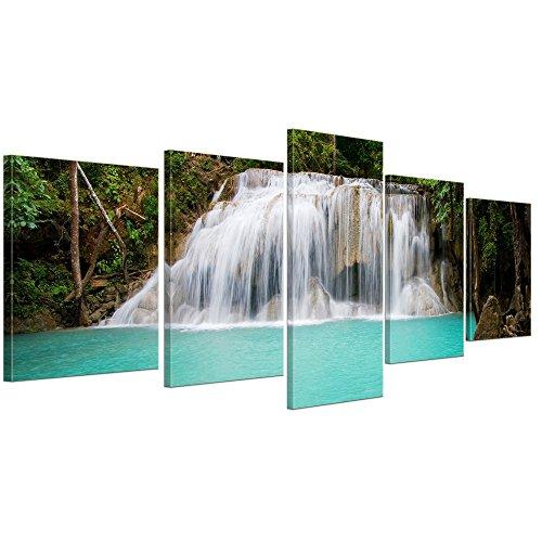 Kunstdruck - Dschungel Wasserfall in Thailand, Provinz Kanchanaburi - Bild auf Leinwand - 200x80 cm 5 teilig - Leinwandbilder - Bilder als Leinwanddruck - Wandbild von Bilderdepot24 - Landschaften -Asien - Erawan-Nationalpark - paradiesisch