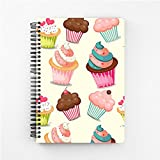 #7: Mobicture Cute Cupcakes Wire Bound Spiral Notebook By Paper Plane Design Designer Covers Combined With Unruled Sheets Inside