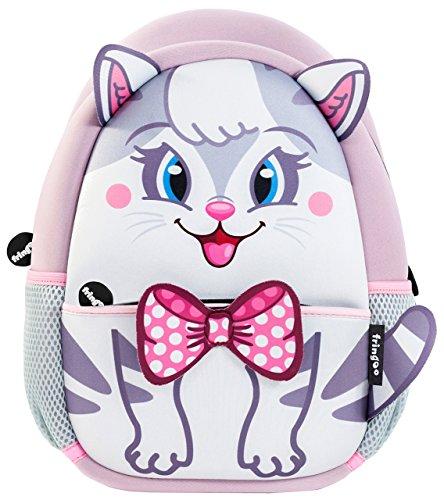 fringoo® Kleinkinder Rucksack, süß, Isoliert, Kindergartenrucksack, Tagesrucksack, Reiserucksack mit Reißverschlusstasche White & Grey Kitty - Backpack 30 x 22 x 9 cm