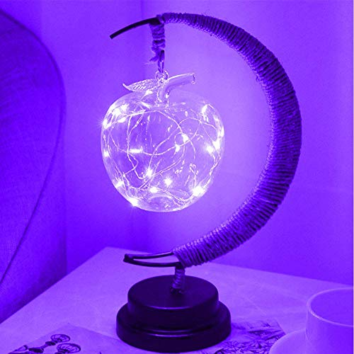 ar Handwerk Tischlampe Mond Lampe Hanf Seil Süß Dekoration - Lila, Apple ()