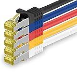 1aTTack.de Cat.7 Netzwerkkabel 1,5m - 5-Farben 03-5 Stück - Cat7 Ethernetkabel Netzwerk Lan Kabel Rohkabel 10 Gb/s (Sftp Pimf) Set Patchkabel mit Rj 45 Stecker Cat.6a