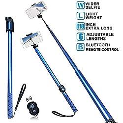 BMZX Extra Long Bluetooth Selfie Stick, monopiede Estensibile 3m Phone Holder otturatore Integrato Telecomando Senza Fili per fotografare, Viaggi, Compatibile con iPhone, Samsung, Huawei, HTC, Blu
