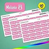Stickerella - 90 Namensaufkleber für Kinder - Namensetiketten für Schule und Kindergarten, personalisierbar, permanent, wasserfest (11 x 26 mm) (pink)