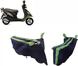 MotRoX Baklol_Green Two Wheeler Cover for TVS Scooty Streak (with Japanese Technology Stitched Piping)