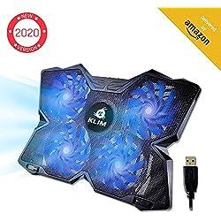 KLIMTM Wind - Refroidisseur Ordinateur Portable + Le Plus Puissant + Refroidissement Ultra Rapide + 4 Ventilateurs Silencieux + Refroidisseur PC Portable PS4 Xbox - Version 2019 - Bleu