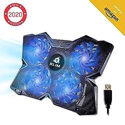 KLIM Wind Laptop Kühler - Leistungsstark Wie Kein Anderer - Schneller Kühlvorgang - 4 Lüfter PC Notebook PS4 - Belüfteter Laptop Ständer, Gamer Gaming Stützhalterung - 2020 Version- Blau
