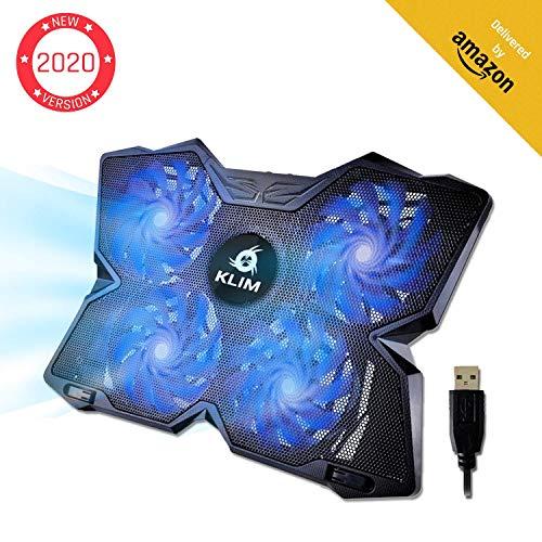 KLIM Wind Laptop Kühler - Leistungsstark Wie Kein Anderer - Schneller Kühlvorgang - 4 Lüfter PC Notebook PS4 - Belüfteter Laptop Ständer, Gamer Gaming Stützhalterung - 2020 Version- Blau -