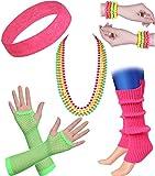 ArtiDeco Damen 80er Jahre Zubehör 1980s Disco Party Kostüm Outfit Zubehör Set Inklusive Stirnband Ohrringe Armbänder Beinlinge Fischnetz Handschuhe (Set-9)