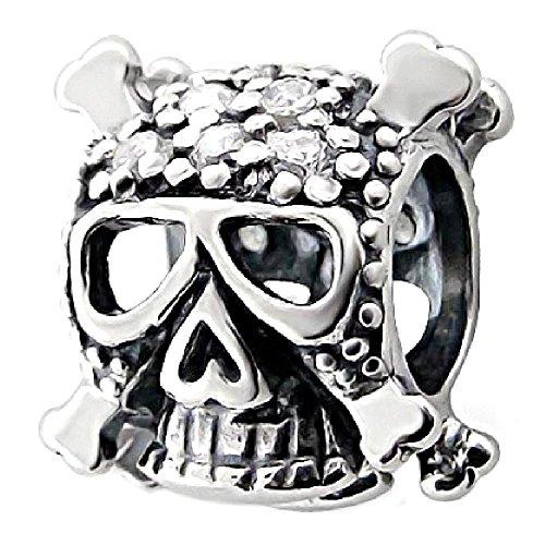 So Chic Schmuck - Charm Totenkopf Totenkopf Piraten Zirkonia Weiß Silber 925 - Für Pandora,...