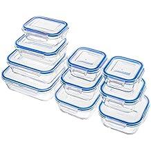 Zestkit Set de 10 Recipientes Herméticos de Vidrio, Contenedores para Alimentos Rectangulares y Cuadrados, Prueba de fugas, Caja Fuerte para Congelador, Microondas y Lavavajillas (Azul)