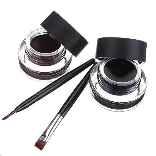 LUCKYFINE Wasserdicht Eyeliner Gel Make-up Kosmetik augen Tools Schwarz & Braun mit 2 Buerste