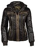 Trisens corto, leggero, primavera con cappuccio da donna motociclista giacca Nero Black
