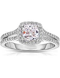 Silvernshine 1.37 Cttw White Cushion Cubic Zirconia Diamond 14k White Gold Over Wedding Ring