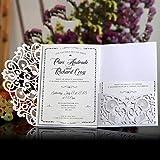 Starter per matrimoni -10pcs stile europeo laser Cut wedding Invitations Cards, Tri-Fold pizzo Business biglietti d' invito, decorazione per festa