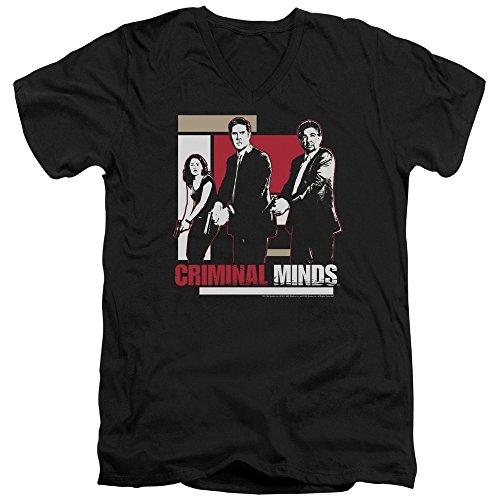 Criminal Minds TV Show CBS Guns Drawn Adult V-Neck T-Shirt Tee