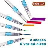 Shuttle Art Water Coloring pinceaux, Set de 6 conseils assortis étanche avec bouton poussoir pour la peinture à l'aquarelle, calligraphie, crayon soluble dans l'eau, stylos à brosse, marqueurs, plats et arrondis Conseils