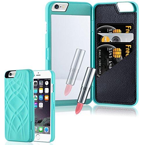 Cadorabo - Hard Cover Protección para Apple iPhone 6 / 6S / 6G - Case Cover Funda Protectora Carcasa Dura Hard Case con Motivos, Espejo y 3 Compartimientos para Carteras en TURQUESA TURQUESA