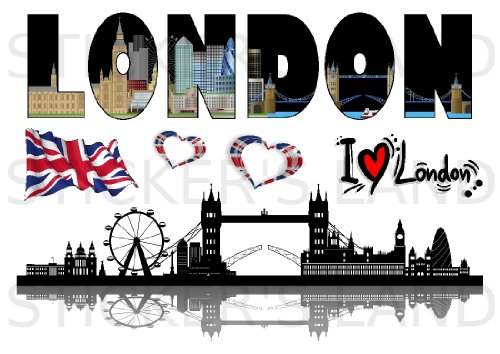 STICKERS DÉCORATIFS LONDRES à découper (Planche à stickers DIMENSIONS 21x28cm en PAPIER ADHESIF TRANSPARENT) anglais angleterre coeur big ben mini cooper windsor buckingham palais museum london british tower love hyde park westminster