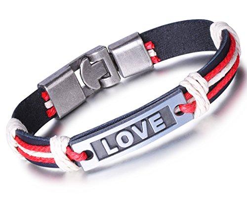 Unendlich U Fashion LOVE Paar Armband Armreif Partner Armbänder Geflochten Leder Legierung Manschette Armschmuck, Rot