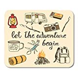 Mouse Pads Camping with Watercolor Camp Bonfire Vintage Lantern Camera Roasted Marshmallow Camper Knife Enamel Van Mouse Pad 9.5 x 7.9 for Notebooks,Desktop Computers Office Supplies