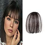 LaaVoo Clip in Bangs Remy Hair Extensiones Pelo Natural Flequillo Postizo sin Templos Colores Negro Marron