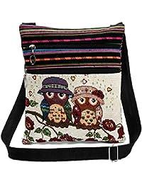 Flache Umhängetasche   Schultertasche   Stofftasche   Tragetasche   Messenger Bag (2 Innenfächer) für Damen im bestickten Ethno Style mit niedlichem Eulenmotiv
