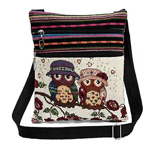 Flache Umhängetasche | Schultertasche | Stofftasche | Tragetasche | Messenger Bag (2 Innenfächer) für Damen im bestickten Ethno Style mit niedlichem Eulenmotiv (Bunt (Behütete Eulendamen))