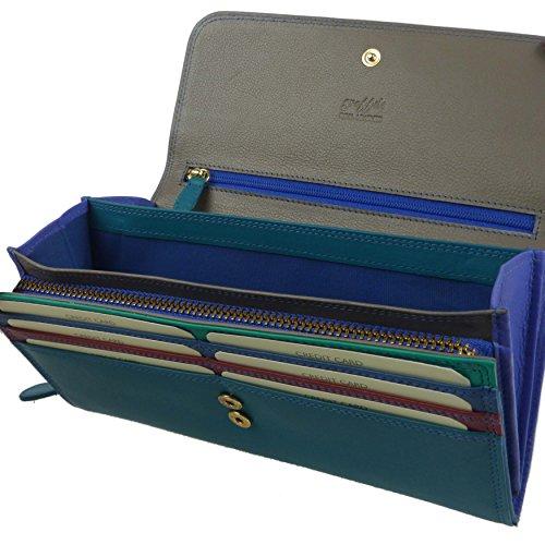 Donna in Pelle Grande con patta Matinee borsetta/portafoglio da Golunski colorati multicolore Blue Multi