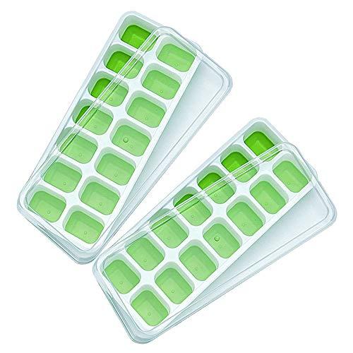 Linyuo 2-Pack Eiswürfelbehälter, Silikon-Eiswürfelbehälter mit Deckel Flexible Easy Release Eisform Babynahrung Gefrierfach, Spülmaschinenfest BPA-frei