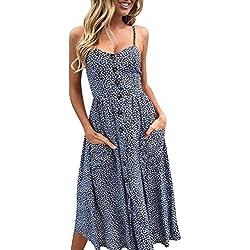 STRIR Mujeres Casual Elegante Bohemio Algodón Vestido Suelto Largo Playa Lunares sin Mangas Falda de Playa (XL, Azul Marino)
