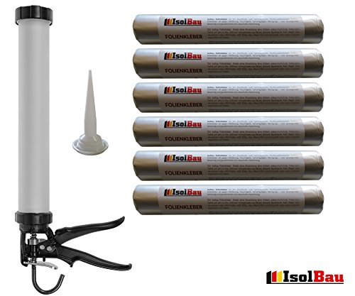 Folienkleber 6 X 600 Ml Schlauchbeutel Dichtkleber Klebedichtmasse +  Hochwertige Auspresspistole Kartuschenpistole Schlauchbeutelpistole SET  Dampfbremse ...