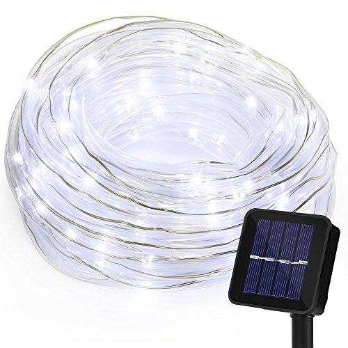 Cadena de Luces GRDE 100 LED Luces Solares 10M (8 modos), Cadena de Luz Flexible Impermeable IP65 Ultra Brillante Con Panel Solar Para Bodas, Patios, Jardín y Decoración (Luz Blanca)
