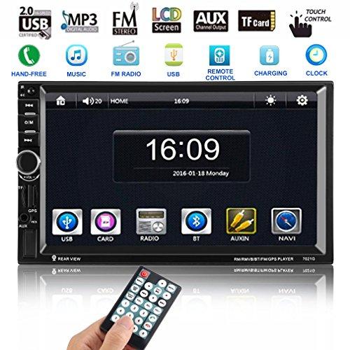Autoradio Bluetooth, Footprintse Auto Radio Double Din 7 Pouces Ecran Tactile- GPS Navigation- MP3 MP5 Radio Lecteur- Caméra de Recul -Multimédia Player Stéréo 2 D