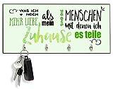 Schlüsselbrett Schlüsselhaken farbig mit Spruch bedruckt auf Holz in grün mit 4 Haken (28cm x 12,8 cm)
