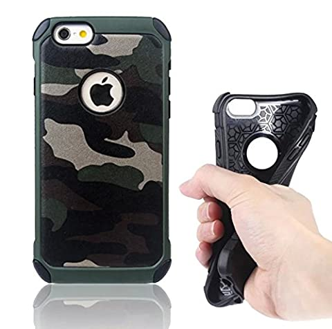 Vandot Slim Hybrid For iPhone 6S Plus Case, [Camo Series] Rigid Hard PC Back with Internal Soft TPU Silicone Back Cover Dual Layer [Shock-absorbing] High Impact Army Camouflage Armor Defender Case For iPhone 6S Plus /6 Plus 5.5 inch - Forest Green