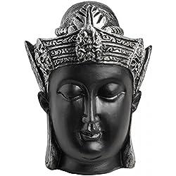 Hill Interiors - Figura metálica de cabeza de buda (Talla Única/Negro/Plata)