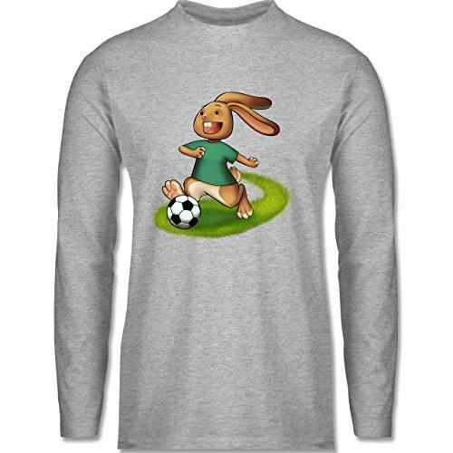 Shirtracer Fußball - Fußball Hase - Herren Langarmshirt Grau Meliert