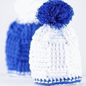 Eier Mützchen Blau/Weiß – 2er Set Eierwärmer für Fußballfans – Baumwolle, Geschenkidee