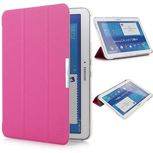 iHarbort Samsung Galaxy Tab 4 10.1 custodia in pelle, ultra sottile di peso leggero Case Cover custodia in pelle per Samsung Galaxy Tab 4 10.1 pollice T530 T535 Holder, con il sonno / sveglia la funzione (Galaxy Tab 4 10.1, rosa caldo)